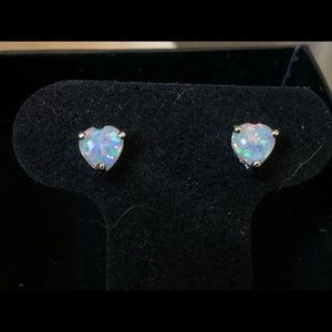 New! White Fire Opal Heart Shaped Earrings